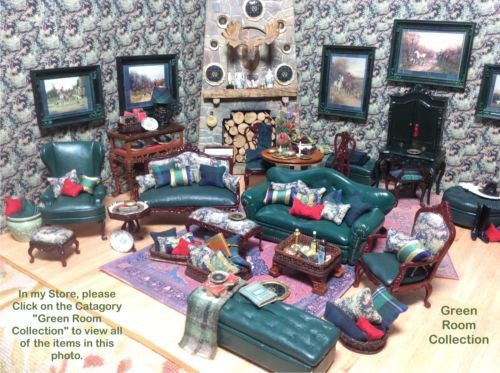 Sofa Couch Lounge Divan Settee Leather with Pillows 1:12 Scale Dollhouse Miniature