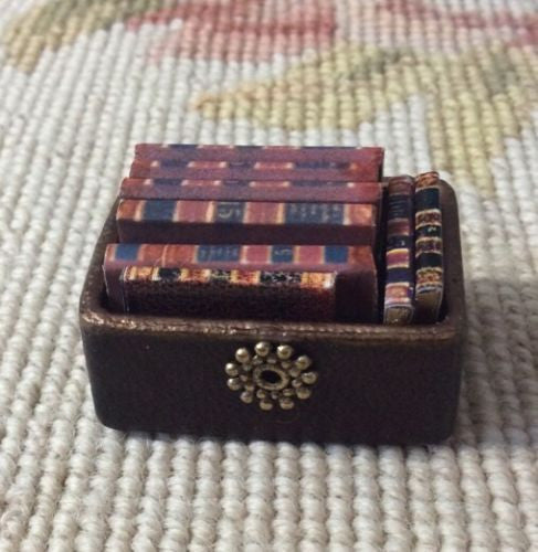 Box Container Of Books 1:12 Dollhouse Miniature