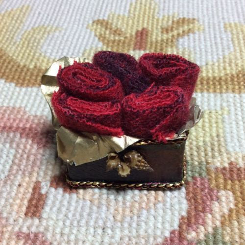 Box Container Case with Fabric Rolls 1:12 Dollhouse Miniature