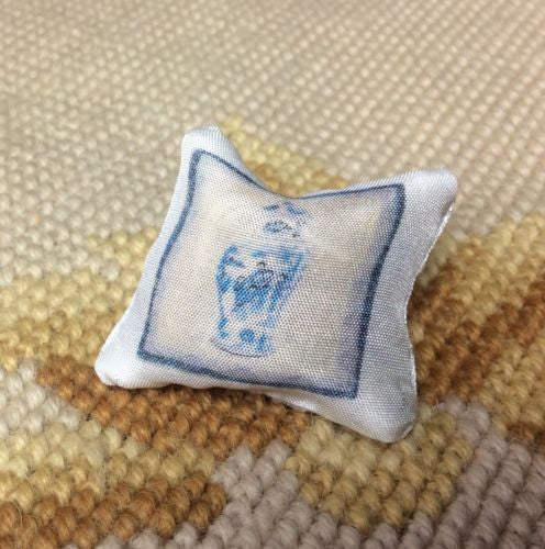 Pillow Bed Sofa Chair Cushion Blue & White 1:12 Dollhouse Miniature