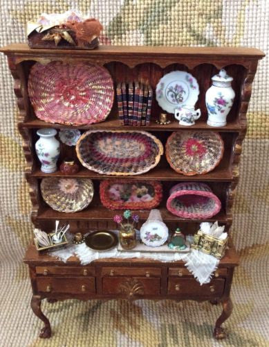 Bespaq Shelf Bookcase Hutch China Cabinet Dressed 1:12 Dollhouse Miniature
