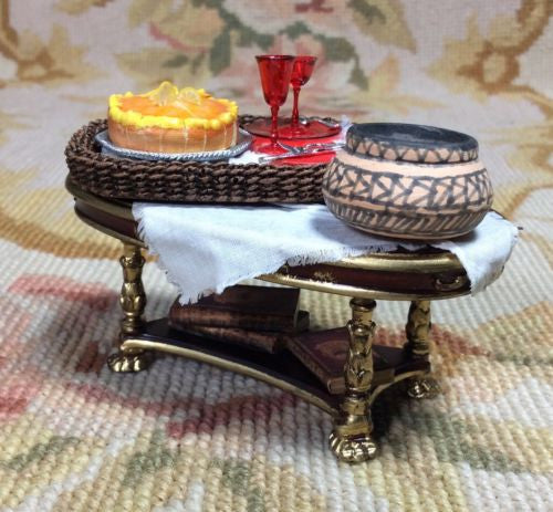 Bespaq Table Dressed with Wicker Tray Drape Pot & Books 1:12 Dollhouse Miniature