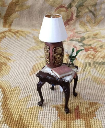 Bespaq Table Dressed with Lamp Book Flower 1:12 Dollhouse Miniature