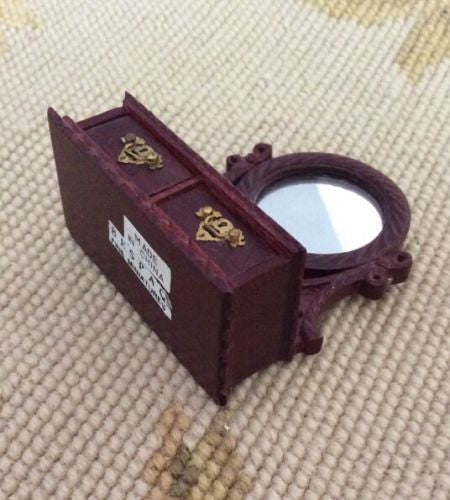 Bespaq Jewelry Vanity Case Box Mirror Dressed 1:12 Dollhouse Miniature