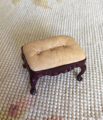 Stool Seat Ottoman Leather 1:12 Dollhouse Miniature
