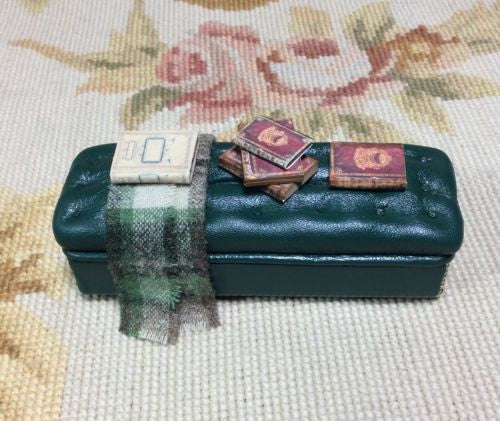 Stool Ottoman Seat Leather with Drape & Books 1:12 Dollhouse Miniature