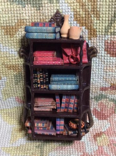 Bespaq Shelf Hutch China Cabinet Bookcase Dressed 1:12 Dollhouse Miniature