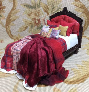 Bespaq Bed Dressed with Pillows & Drape 1:12 Scale SPECIAL ORDER  Dollhouse Miniature