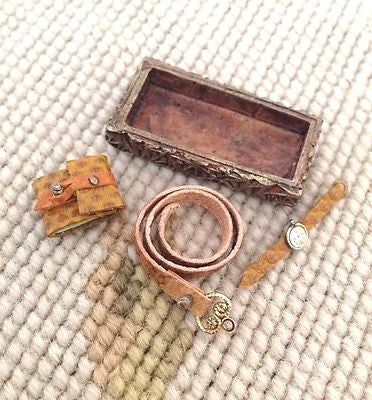 Box with Watch Wallet Belt Collection 1:12 Dollhouse Miniature