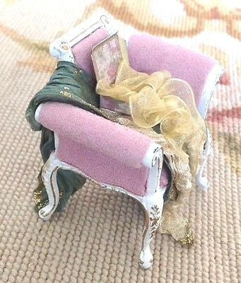 Bespaq Chair with Silk Drape Purse Handbag Box 1:12 Dollhouse Miniature