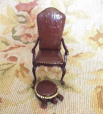Bespaq Chair Seat & Stool Ottoman 1:12 Dollhouse Miniature