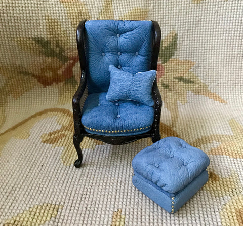 Chair Seat & Stool Ottoman With Pillow 1:12 Dollhouse Miniature