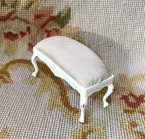 Bench Stool Ottoman Seat Table Antique Sand Leather 1:12 Dollhouse Miniature