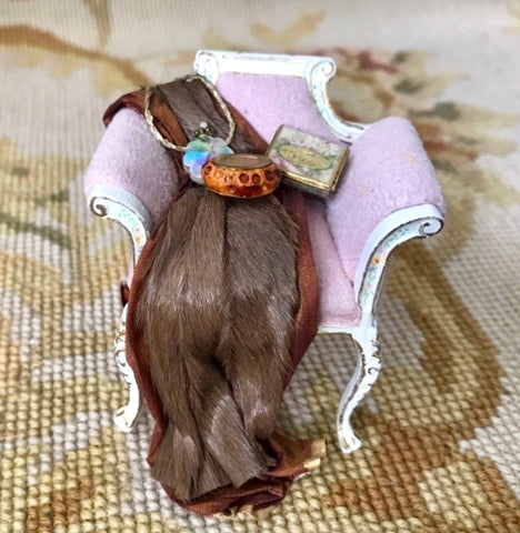 Bespaq Chair with Fur & Silk Drape Purse Box 1:12 Dollhouse Miniature