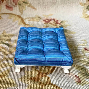 Stool Ottoman Seat Table Blue Silk 1:12 Dollhouse Miniature