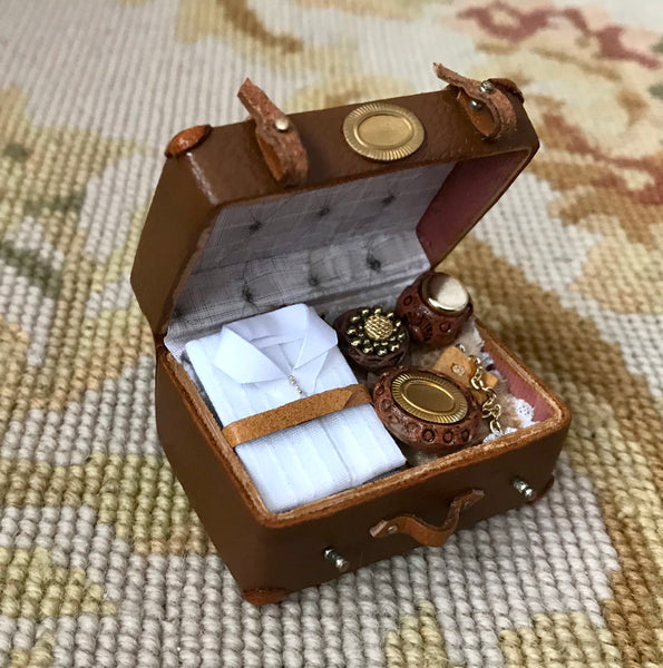 Luggage Satchel Valise Leather Filled 1:12 Dollhouse Miniature