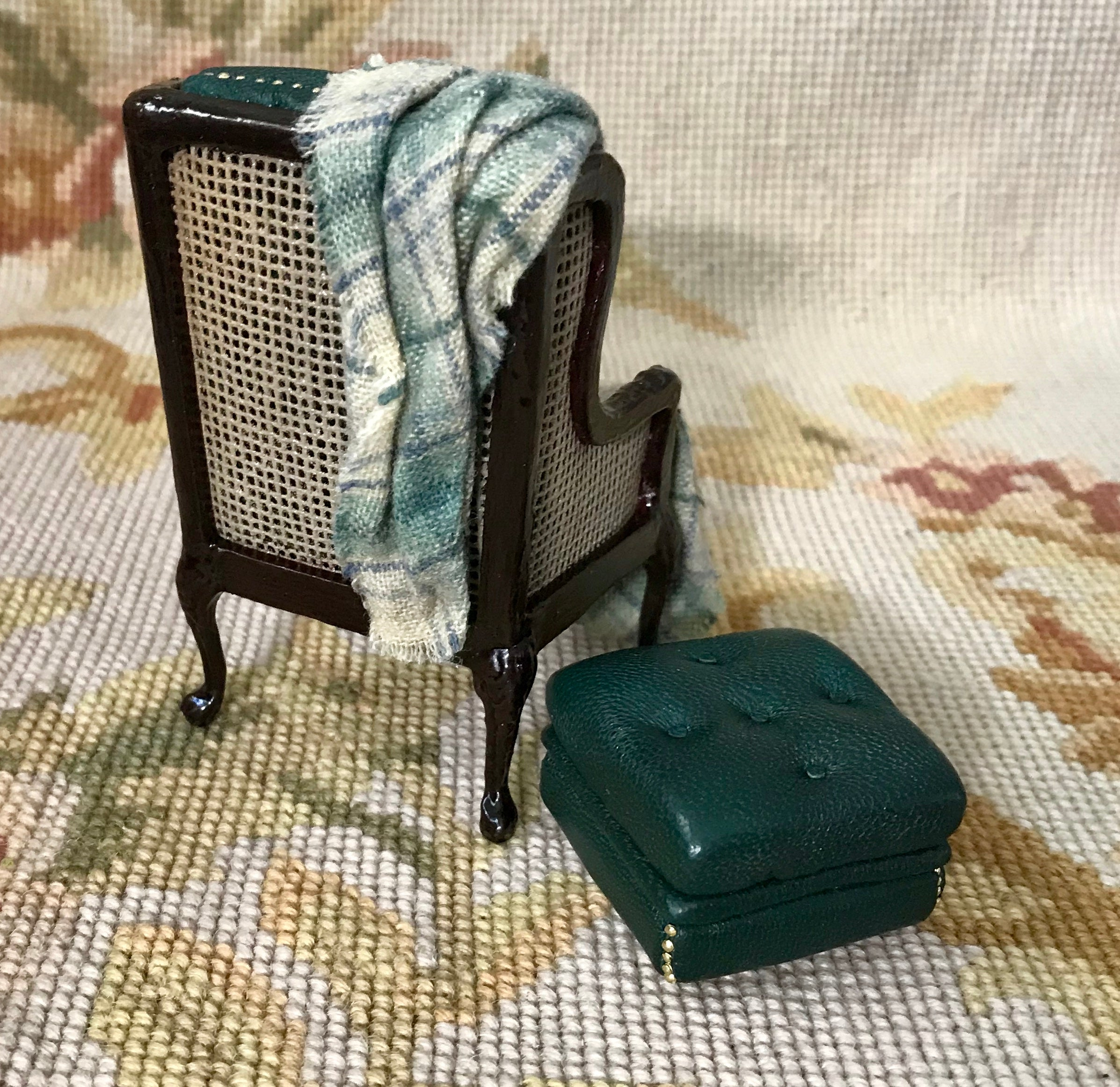 Chair Seat & Stool Ottoman With Drape & Pillow SPECIAL ORDER  1:12 Dollhouse Miniature