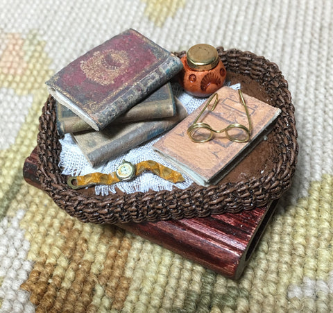 Basket Wicker Tray with Watch & Books 1:12 Dollhouse Miniature