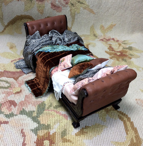 Bespaq Bed Dressed Brown Leather Head & Foot Boards 1:2 Dollhouse Miniature