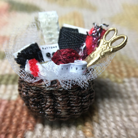 Basket Container Dressed with Sewing Accessories 1:12 Dollhouse Miniature