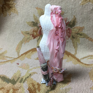 Dress Form Mannequin Wicker Dressed 1:12 Dollhouse Miniature