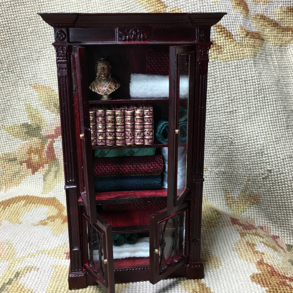 Bespaq Shelf Bookcase Hutch Cabinet Cupboard OOAK Dressed  1:12