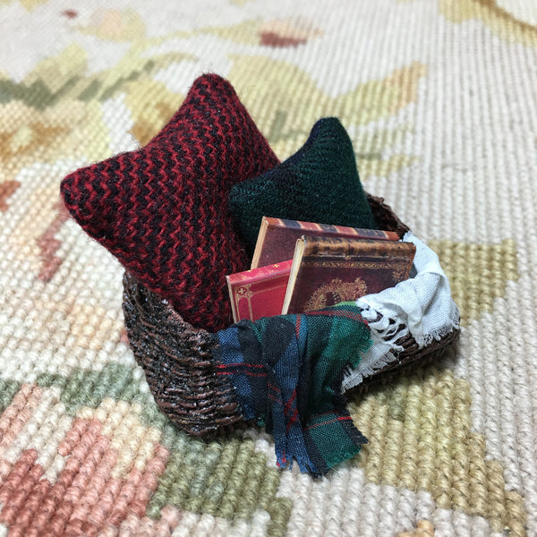 Basket Container with 2 Pillows, 3 Books and 2 Drapes 1:12 Dollhouse Miniature