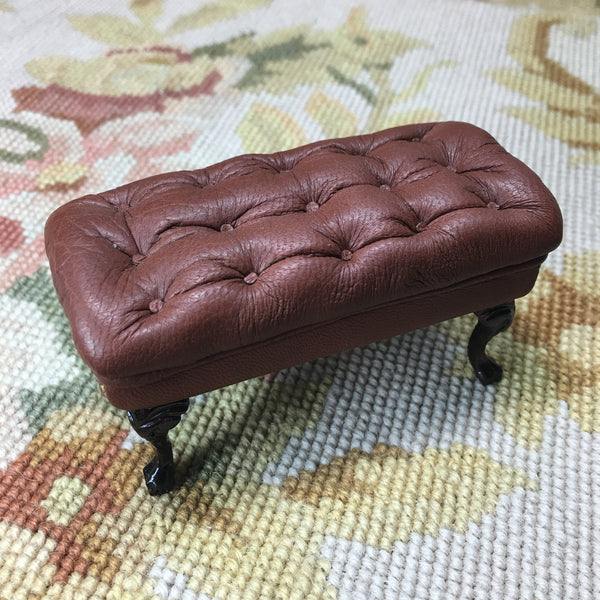 Stool Ottoman Seat Table Leather 1:12 Dollhouse Miniature
