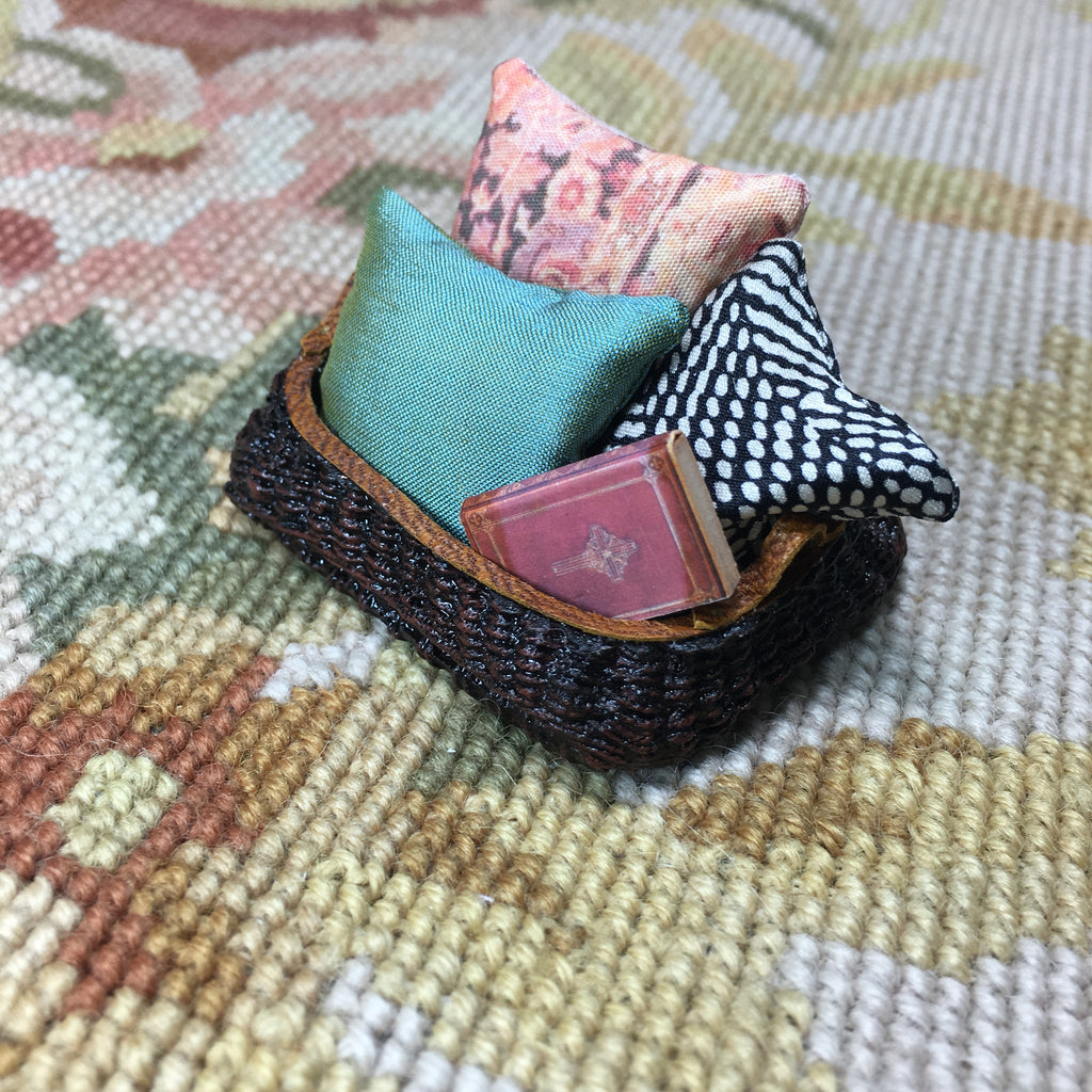 Basket Container with Leather Trim & 3 Pillows, 1 Book 1:12 Dollhouse Miniature
