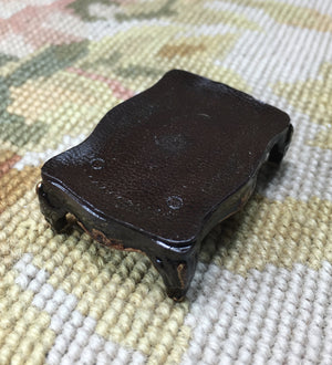 Table Stand with Stamped Leather Top 1:12 Dollhouse Miniature
