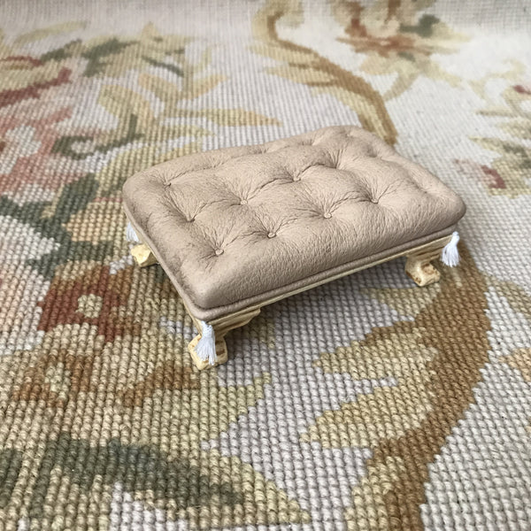 Stool Ottoman Seat Table Antique Sand Leather 1:12 Dollhouse Miniature