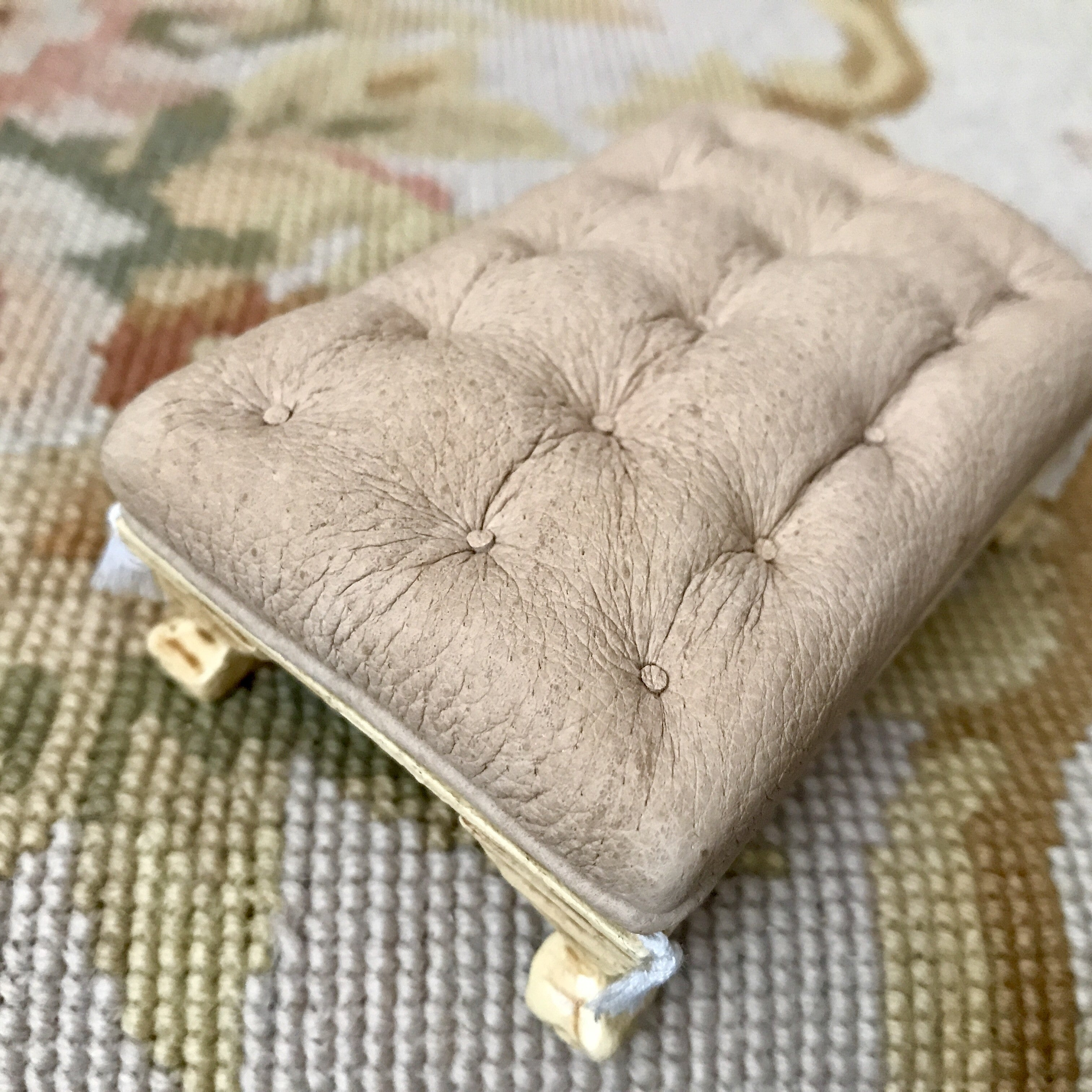 Stool Ottoman Seat Table Antique Sand Leather 1:12 Scale SPECIAL ORDER Dollhouse Miniature