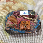 Basket Wicker Tray Dressed with Designer Scarf Drape, Wallet, Belt, Eyeglasses & Case 1:12 Scale