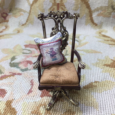 Bespaq Chair Swivel Desk Leather with Pillow 1:12 Dollhouse Miniature
