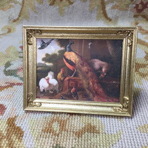 Painting Picture Birds Peacock Large 1:12 Dollhouse Miniature Art