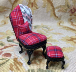 Chair Seat & Stool Red Plaid With Black Leather 1:12 Dollhouse Miniature