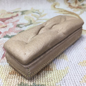 Bench Stool Ottoman Seat Light Tan Leather With Nail Heads 1:12 Dollhouse Miniature