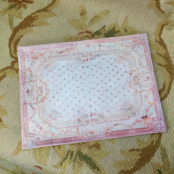 Floorcloth Rug 1:12 Pink Dots Carpet Dollhouse Miniature
