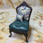 Chair Seat Side Hunt Fabric with Pillow OOAK 1:12 Scale SPECIAL ORDER Dollhouse Miniature