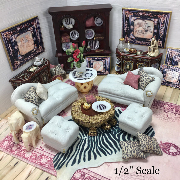 "Turtle Table Dressed OK for 1/2"" Scale Dollhouse Miniature"