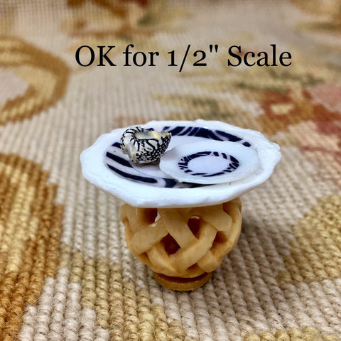 Table Stand Dressed with Zebra Plate & Sea Shell 1:12 Dollhouse Miniature