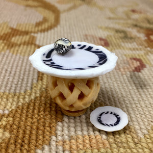 Table Stand Dressed with Zebra Plate & Sea Shell SPECIAL ORDER Dollhouse Miniature