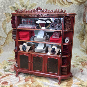Bespaq Shelf Bookcase Hutch China Cabinet Showcase Cupboard Dressed 1:12 Dollhouse Miniature