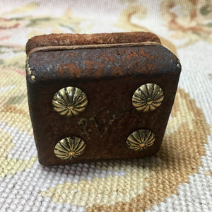 Stool Ottoman Seat Leather Distressed 1:12 Dollhouse Miniature