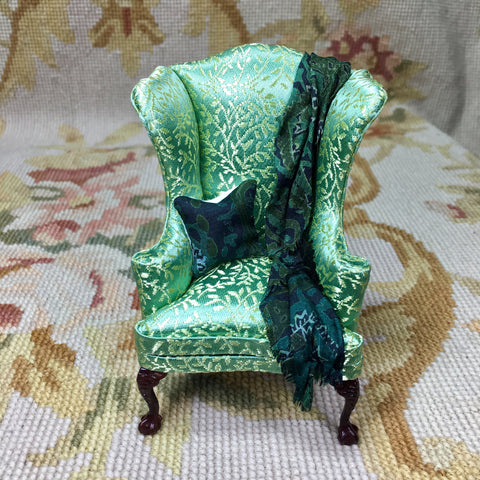 Bespaq Chair Wing Seat Chaise in Floral Fabric with Pillow & Drape 1:12 Dollhouse Miniature