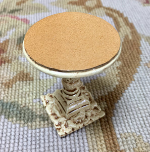 Table Stand With Leather Top Antique Sand Sable 1:12 Dollhouse Miniature