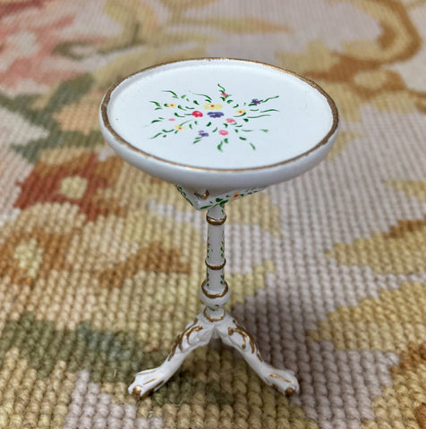 Bespaq Table Stand White Hand Painted 1:12 Dollhouse Miniature