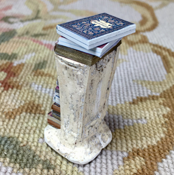 Table Book Stand Pedestal With Books 1:12 SPECIAL ORDER Dollhouse Miniature