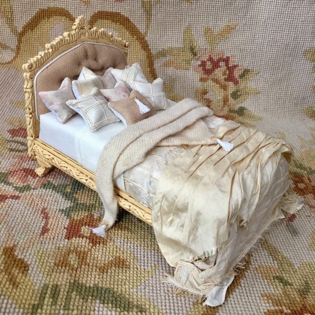 Bed Dressed Antique Sand 1:2 Scale Dollhouse Miniature