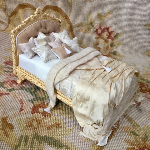 Bed Dressed Antique Sand 1:2 Dollhouse Miniature